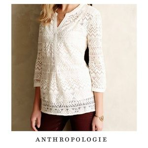 Anthropologie Vanessa Virginia Lace Sheer Henley